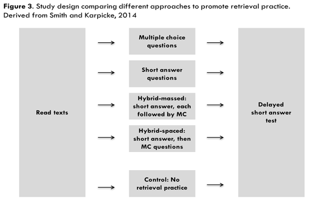 Figure 3. Study design comparing different approaches to promote retrieval. Derived from Smith and Karpicke, 2014.
