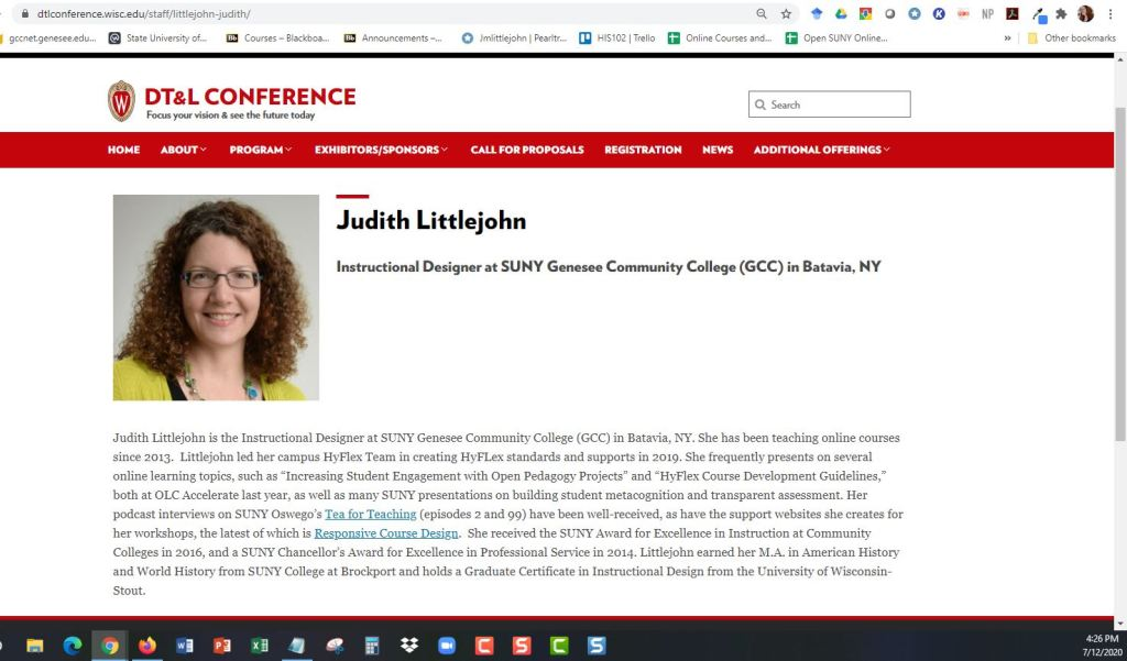 Judith Littlejohn, Instructional Designer, invited panelist at the Distance Teaching and Learning Conference, August 2020